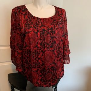 Roz & Ali 2X Tiered Sleeve Blouse